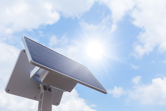 Solar cell or Solar Panel setup outdoor sunny day blue sky background with space for text