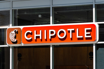 Sep 21, 2019 San Francisco / CA / USA - Close up of Chipotle sign at one of their restaurant location in SOMA district; Chipotle Mexican Grill, Inc is an American chain of fast casual restaurants