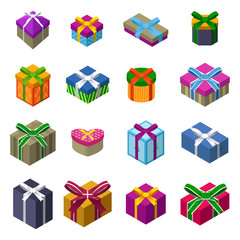 Different designs of Christmas present boxes