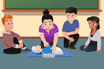 Instructor Demonstrating CPR to Students Vector Illustration