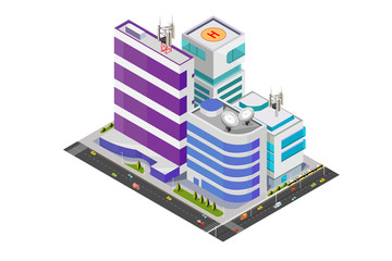 Isometric Vector Illustration of Modern Buildings