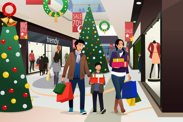 Asian Family Going Shopping During Christmas Illustration