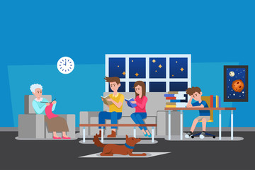 Family at Home Vector Illustration