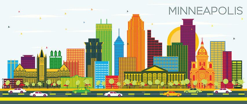 Minneapolis Minnesota USA City Skyline with Color Buildings and Blue Sky.