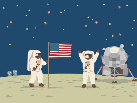 The spaceship Apollo 11, moon landing. Vector illustration.