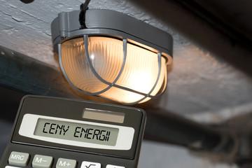 Eine Lampe, Taschenrechner und Strompreise in Polen