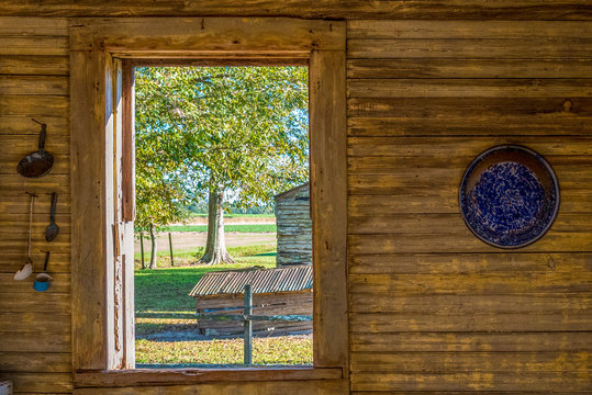 View from a Slave Cabin of a historic Sugar Cane Plantation in Louisiana, USA