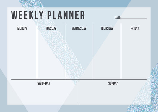 Weekly planning template with notes on geometric background in blue and glitter color. Stylish organizer design. Vector illustration
