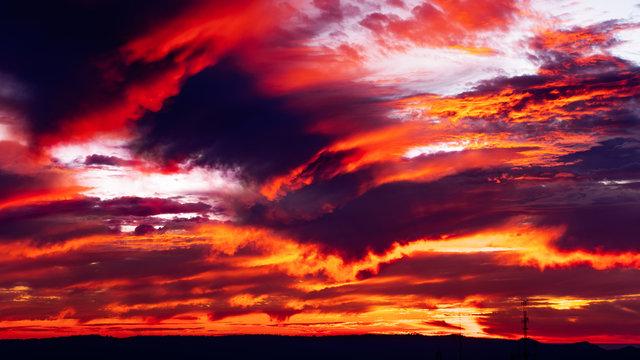 Fiery sunset on the West coast, San Francisco Bay area; California