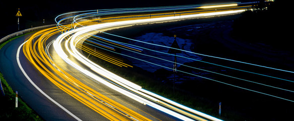 Aluminium Prints Night highway lights of cars with night