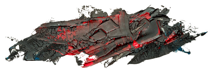 Black with red hand drawn vector oil brush stroke. Template for your text. Fototapete