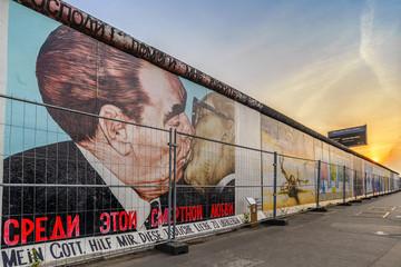 Berlin skyline sunset at Famous Berlin Wall, Berlin, Germany
