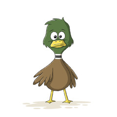 Cute cartoon duck. Hand drawn vector illustration with separate layers.