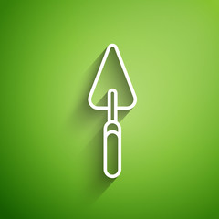 White line Garden trowel spade or shovel icon isolated on green background. Gardening tool. Tool for horticulture, agriculture, farming. Vector Illustration
