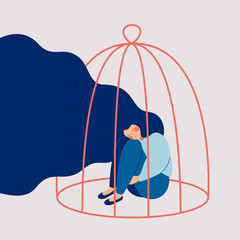 Young sad woman locked in a cage. Concepts of restrictions on the ability of women in society. Human character illustration
