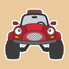 Monster truck red car cartoon character. Vector illustration.