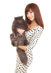 Pretty woman with funny kitten isolated on white background. Portrait of young woman holding big grey cat.