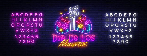 Dia de los muertos Neon Sign Vector. Day of the dead Neon Poster, Mexican holiday, festival design template. Vector poster, banner and card. Vector illustration. Editing text neon sign