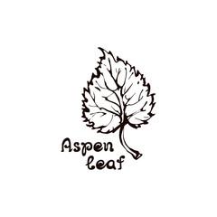 Hand Drawn Aspen Leaf with Handwritten Text