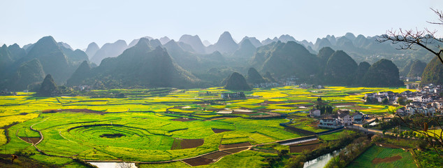 Panoramic view of Rapeseed flower field and villages at Wanfenglin  National Geological Park (Forest of Ten Thousands Peaks), China Fototapete