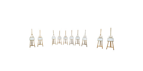 isolated empty easels on white background for organizing virtual exhibition in any spherical panorama 360 degrees angle view in equirectangular projection for use in 3d graphics. Painting mockup