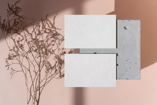 Two Business card mockup on concrete box