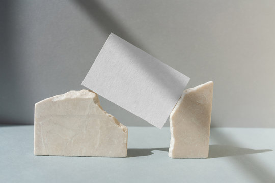 Business card mockup on stone