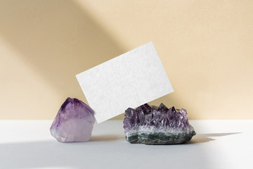 Business card mockup with amethyst