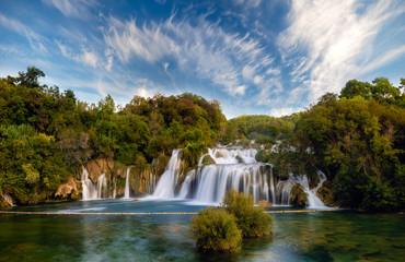 Krka National Park-panorama of the waterfall against the beautiful evening sky,Skradinski Buk Waterfall Wall mural