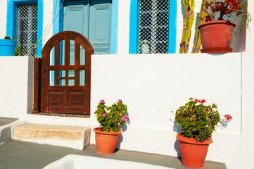 Traditional greek cycladic architecture on Santorini island, Greece.