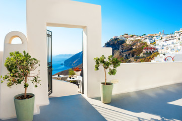 White architecture on Santorini island, Greece. Famous travel destination