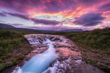 Picture beautiful of Bruarfoss waterfall with dramatic sky at South Iceland, summer time