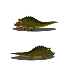 Two Green Alligators with Mouth Open and Closed - Cartoon Vector Image