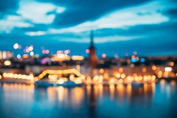 In de dag Stockholm Stockholm, Sweden. Night Skyline Abstract Boke Bokeh Background. Design Backdrop. Panorama Panoramic View