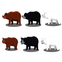 Bear Black White Brown - Cartoon Vector Image