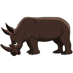 Big Brown Rhinoceros with Horn Side View - Cartoon Vector Image