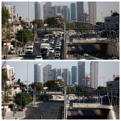 A combination picture shows busy and empty main road in Tel Aviv