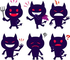 かわいい悪魔の表情イラストセット