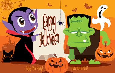 Happy Halloween. Little cute Dracula vampire and Frankenstein monster character with Calligraphy on retro paper in Halloween theme. Cat/pumpkin/ghost elements - vector character