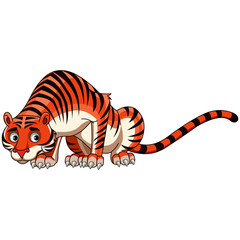 Scared Tiger - Cartoon Vector Image