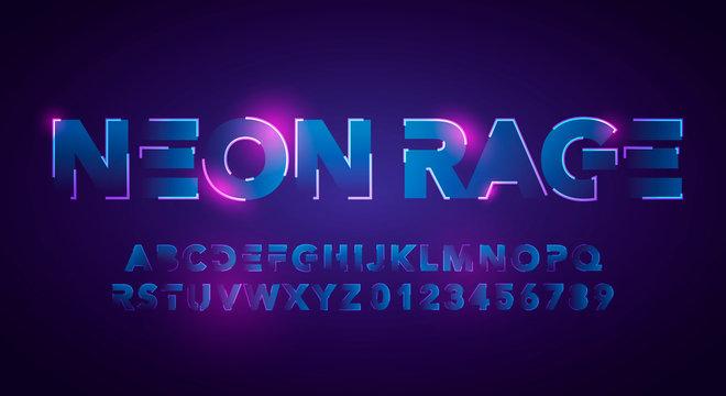 Vector Illustration Modern And Futuristic Neon Alphabet Font. Urban Style Technology Typography