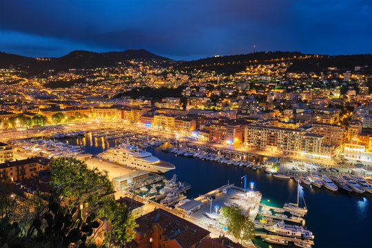 View of Old Port of Nice with yachts, France in the evening
