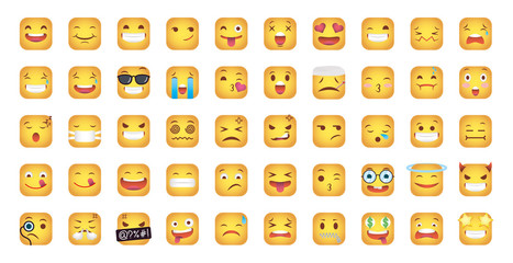 set of squares emoticons faces characters