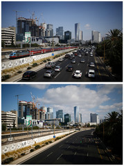 A combination picture shows busy and empty highway in Tel Aviv