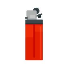 Plastic cigarette lighter icon. Flat illustration of plastic cigarette lighter vector icon for web design