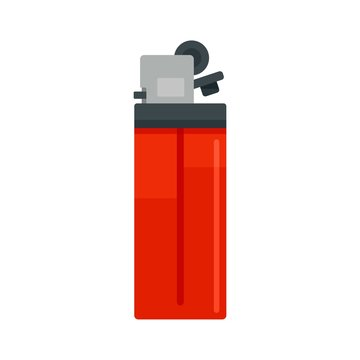 Plastic cigarette lighter icon. Flat illustration of plastic cigarette lighter vector icon for web design