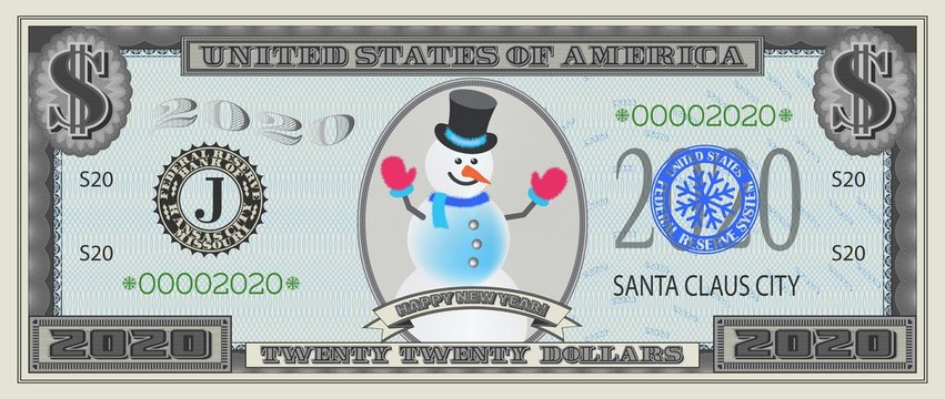 Banknote Happy New Year 2020 dollars with a snowman