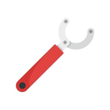 Bike repair key icon. Flat illustration of bike repair key vector icon for web design