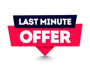 Vector Illustration Last Minute Offer Commercial Pin. Web Label Element.