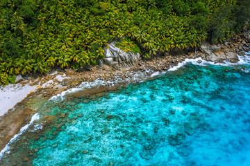 Aerial view of wild secluded lonely beach with rough granite rocks, white sand, palm trees in a jungle and turquoise water of the indian ocean at police bay on the seychelles